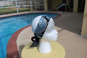 Blue / Black Flower Print Tie Headband Adjustable
