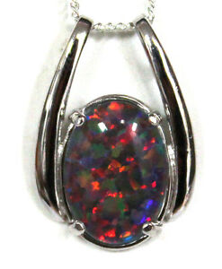 Xmas Women Jewelry Opal Necklace Gift 925Solid Sterling Silver Opal Size 14x10mm