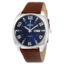 Seiko Recraft Automatic Blue Dial Brown Leather Mens Watch SNKN37