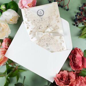 LARGE WHITE CREAM METALLIC LASER CUT WEDDING INVITATIONS DIY WITH FREE ENVELOPES
