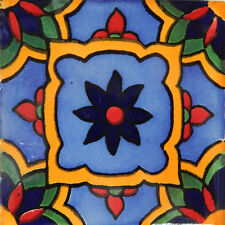 "Handmade Mexican Tile Sample  Talavera Clay 4"" x 4"" Tile C350"