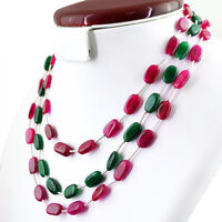 214.50 CTS EARTH MINED RICH RED RUBY & GREEN EMERALD 3 LINE OVAL BEADS NECKLACE