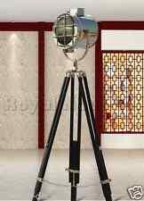 Chrome Finish Spotlight Tripod Nautical Wooden Vintage Floor Lighting Lamp Decor