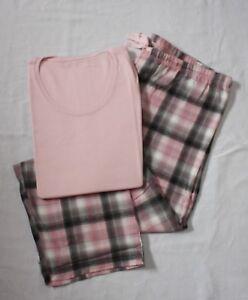 Damen Schlafanzug - Flanel/Jersey Baumwolle Pyjama Sets  Karo Nachtwäsche Frotee