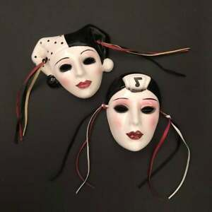 """90s Small Clay Ceramic """"About Face"""" Mardi Gras Face Masks"""