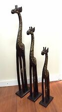 Balinese Hand Carved Giraffes Set of 3