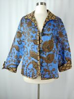 Patty Kim Large Blue Brown Quilted Print Reversible Button Jacket *As Is*