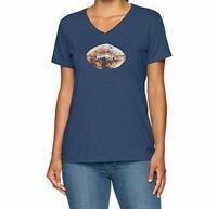 Life Is Good Womens Crusher T Shirt Vintage Football Medium Blue