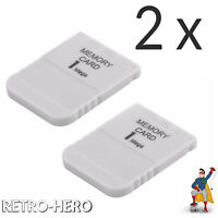 2 x Memory Card 1 MB für Playstation PSX PSOne PS1 PS One 1MB Speicherkarte NEU