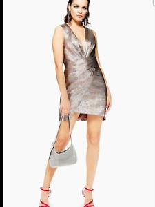 BNWT Topshop Silver Rainbow Metallic Wrap Front Plunge Mini Dress UK 6 £65