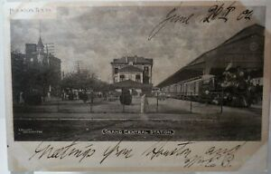 Vintage 1904 Printed Postcard HOUSTON TEXAS Grand Central Station Railroad
