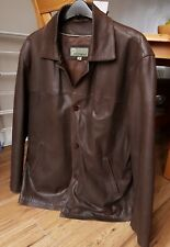 Great Looking 'Hide Park' Men's Brown Leather Button Jacket. Size M