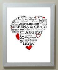 Personalised Word Art Wedding Anniversary Heart Framed 10x8 Print Gift Keepsake
