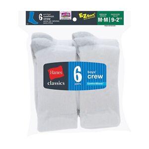6-Pack Hanes Classics Boys Crew EZ Sort Socks - White - Size S-L