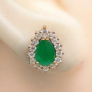 Deco 1.80ctw Emerald & Diamond Cut White Sapphire 14K Yellow Gold 925 Earrings