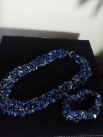 Boho Retro Vintage Lapis Lazuli Chip Necklace and bracelet set
