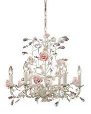 French Country Cottage Rose Porcelain Chandelier Vintage Chic Floral Light
