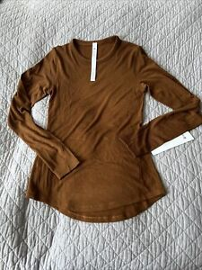 Lululemon HOLD TIGHT RIBBED LONG SLEEVE COPPER BROWN SIZE 4 NWT