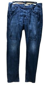 JECKERSON Denim Dark Blue Jeans 38 x 36 Button Fly *MADE IN ITALY* Perfect Cond!