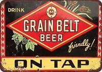 "Grain Belt Beer On Tap Vintage Retro Metal Sign 8"" x 12"""