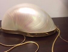 Vintage Judith Lieber Pearled Nautilus Pompillus South Seas Clutch with tags