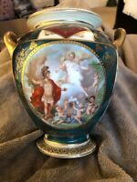 "19th Century Austrian Royal Vienna Two Handle Porcelain Vase 8"" Tall 3.5""Opening"