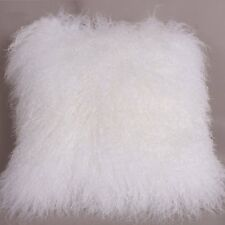 "Handmade Mongolian Fur 20""x20"" Square White Pillow Cushion 50X50cm & fabric back"