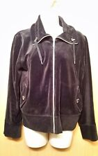 Jones New York Petite Black VELOUR Zip Front Woman's Petite Medium M JACKET