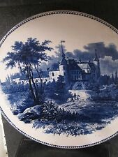 "Villeroy & Boch Wallerfangen Germany BLUE & WHITE PLATTER  12"" Horse Dog Castle"