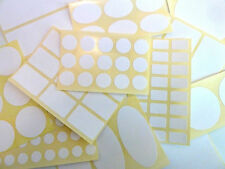 Plain White Extra Durable Plastic Labels, Stickers - 21 Shapes & Sizes