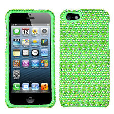 For Apple iPhone 5 5S SE Crystal Diamond BLING Hard Case Phone Cover Green Dots