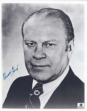 Gerald Ford Autographed/Signed 8x10 B&W Photo W/Global COA-Historical-President