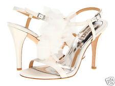 Badgley Mischka Size 5 1/2 White Satin Heel Sandal Shoe Msrp $225.00