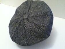MENS RETRO 1920'S STYLE GREY HERRINGBONE BAKER BOY CAP NEWSBOY 8-PANEL HAT