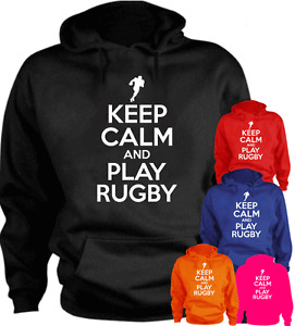 KEEP CALM AND PLAY RUGBY Funny Present Gift New Hoodie