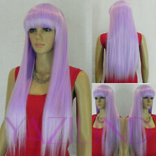 Lilac purple straight cosplay party full bangs long natural looking hairnet wig