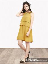 Banana Republic Tiered Crepe Dress, Yellow SIZE 4          #672148 v918