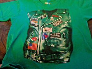 Green t-shirt biker Bentley's child size medium 10-12 maine green short sleeve