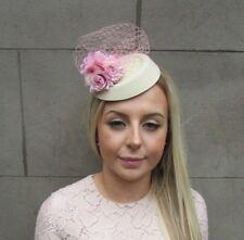 Blush Pink Cream Rose Flower Net Pillbox Hat Hair Fascinator Races Wedding 5285