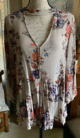 Stacatto Boho Floral Tunic Blouse Size M