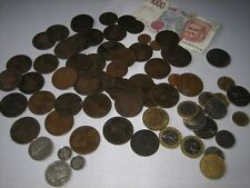 Coin Collectors Lot, 73 Old Coins +1 Bank Note, Predominantly Victoria Bun Penny