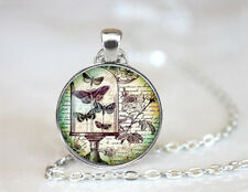 Vintage Retro Mirror Dome Tibetan silver Glass Chain Pendant Necklace