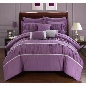 Purple Gray Grey Striped Pinch Pleat Pintuck 10 pc Comforter Set Queen King Bed