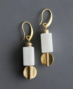 David Aubrey Gold and Marble Earrings