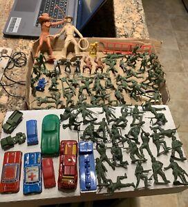 vintage lot 1950's 1960's toys-army-playset-cars-Marx MPC Japan Tin Etc