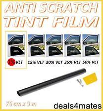 ANTI-SCRATCH CAR VAN WINDOW TINT FILM ULTRA SUPER DARK LIMO BLACK  1% 76cm x 3M