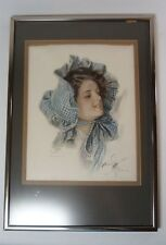"Vtg 1909 Signed Harrison Fisher ""American Beauty C"" Woman in Bonnet Framed Print"