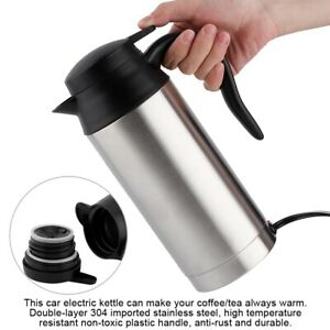 Car Electric Heated Water Kettle Steel Bottle Cup 12V 750ML Stainless Steel