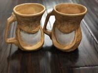 President Jimmy Carter Vtg 1970s Grinning Smiling Peanut Ceramic 2 Mugs Cups '78