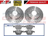 FOR BMW E60 E61 530i 530D FRONT PERFORMANCE DRILLED BRAKE DISCS MEYLE PADS